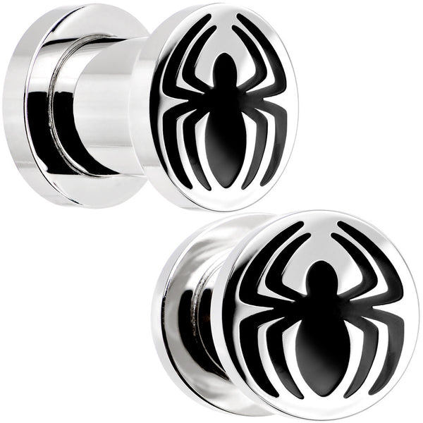 0 Gauge Stainless Steel Licensed Spider-Man Logo Screw Fit Plug Set