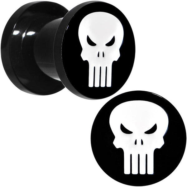 0 Gauge Black PVD Licensed The Punisher Logo Screw Fit Plug Set