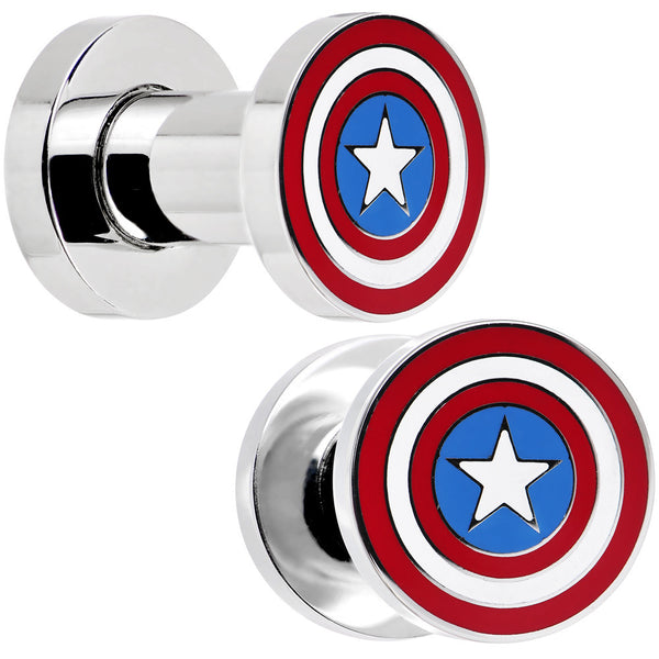 4 Gauge Stainless Steel Licensed Captain America Screw Fit Plug Set