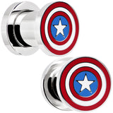 0 Gauge Stainless Steel Licensed Captain America Screw Fit Plug Set