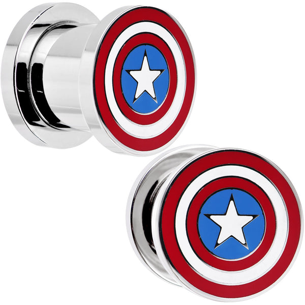 00 Gauge Stainless Steel Licensed Captain America Screw Fit Plug Set