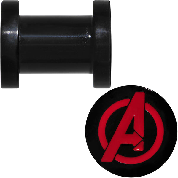 2 Gauge Black PVD Licensed Avengers Logo Screw Fit Plug Set