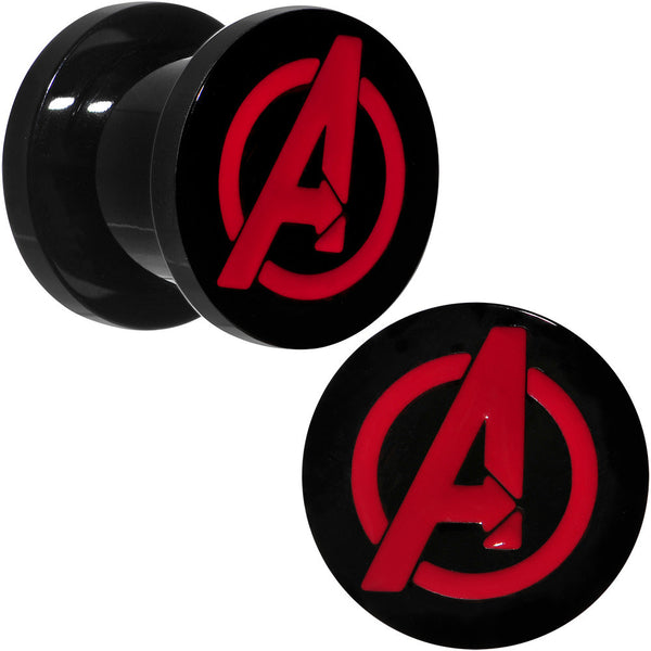 00 Gauge Black PVD Licensed Avengers Logo Screw Fit Plug Set