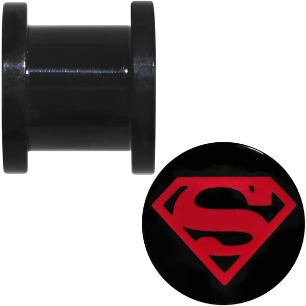 00 Gauge Black PVD Licensed Superboy Logo Screw Fit Plug Set