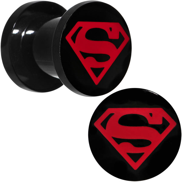 0 Gauge Black PVD Licensed Superboy Logo Screw Fit Plug Set