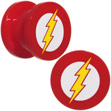 "1/2"" Red Acrylic Licensed The Flash Logo Screw Fit Plug Set"