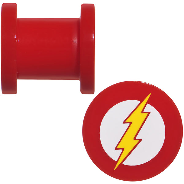 0 Gauge Red Acrylic Licensed The Flash Logo Screw Fit Plug Set