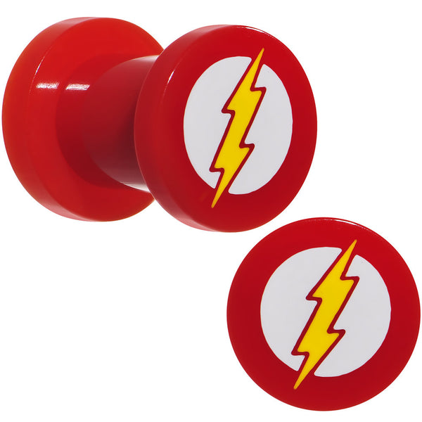 2 Gauge Red Acrylic Licensed The Flash Logo Screw Fit Plug Set