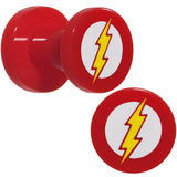 4 Gauge Red Acrylic Licensed The Flash Logo Screw Fit Plug Set