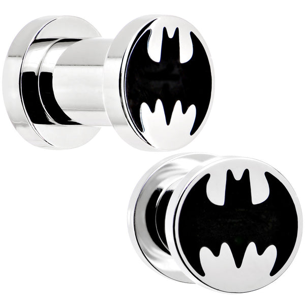 2 Gauge Stainless Steel Licensed Batman Logo Screw Fit Plug Set