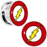 5/8 Stainless Steel Licensed The Flash Logo Screw Fit Plug Set