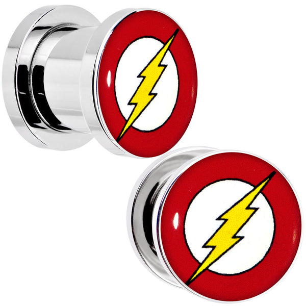 00 Gauge Stainless Steel Licensed The Flash Logo Screw Fit Plug Set