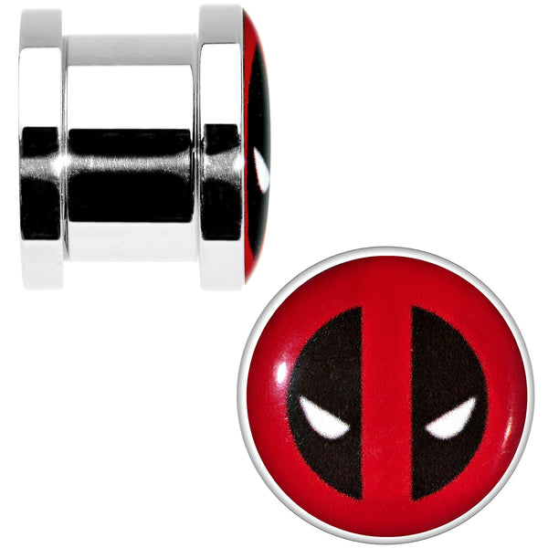 7/16 Stainless Steel Licensed Deadpool Logo Screw Fit Plug Set