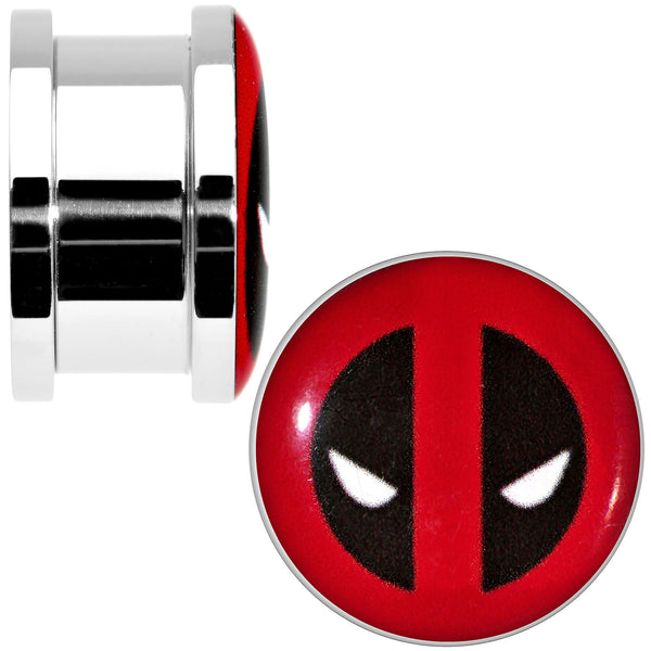 5/8 Stainless Steel Licensed Deadpool Logo Screw Fit Plug Set
