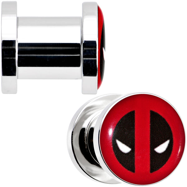 0 Gauge Stainless Steel Licensed Deadpool Logo Screw Fit Plug Set