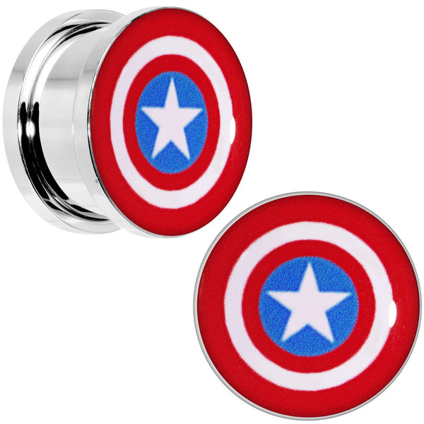 5/8 Steel Licensed Captain America Logo Screw Fit Plug Set