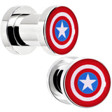 2 Gauge Steel Licensed Captain America Logo Screw Fit Plug Set