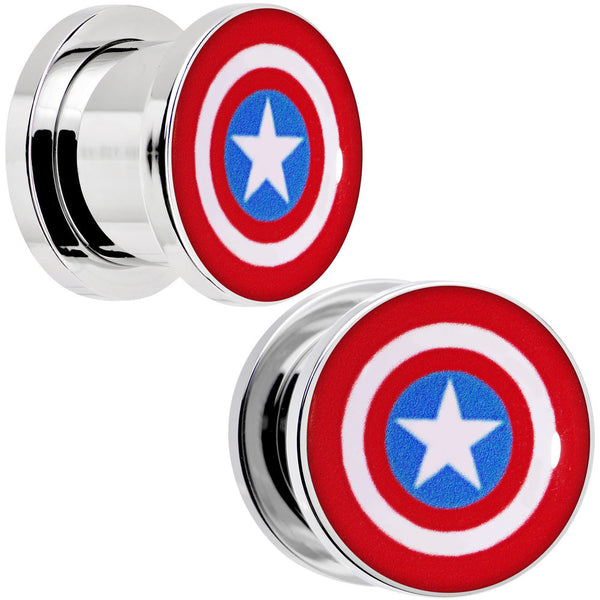 1/2 Steel Licensed Captain America Logo Screw Fit Plug Set