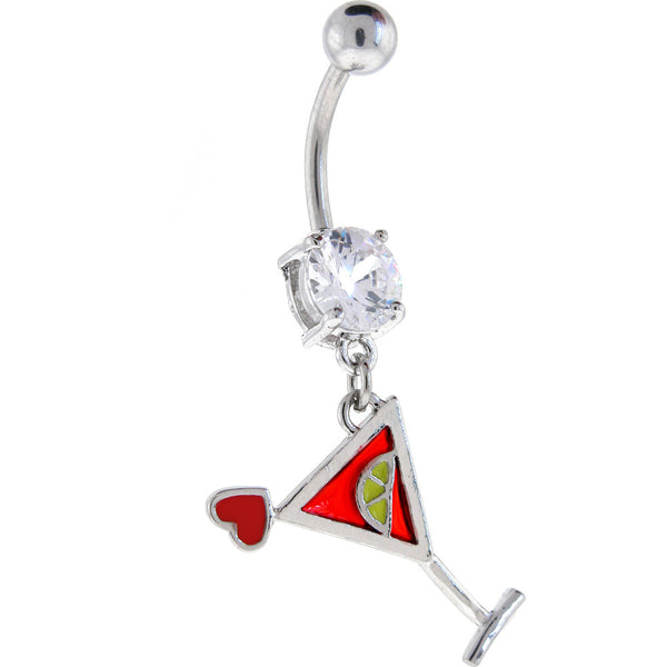 Crystalline Gem LOVE MARTINI Dangle Belly Ring
