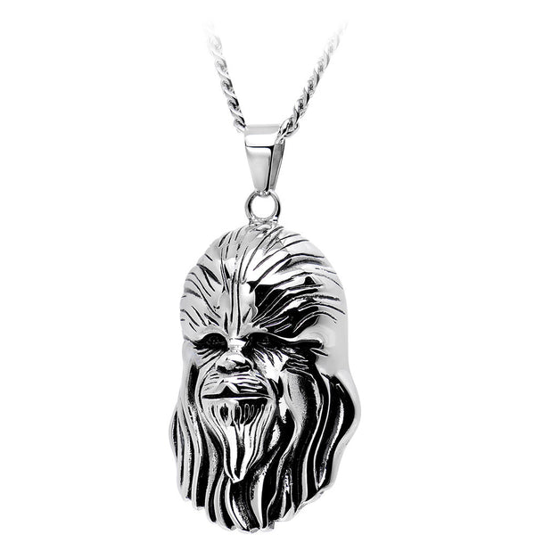 Licensed Steel Star Wars 3D Chewbacca Pendant Necklace