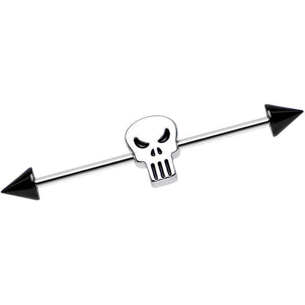 Stainless Steel Licensed The Punisher Logo Industrial Barbell