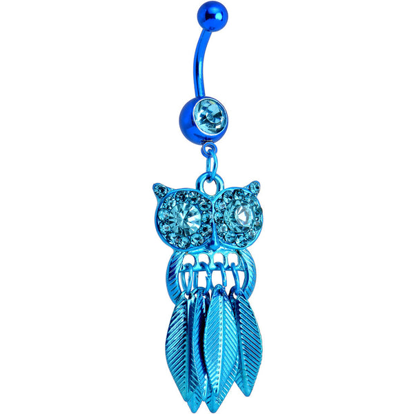 Aqua Gem Blue Stainless Steel Astute Owl Dangle Belly Ring
