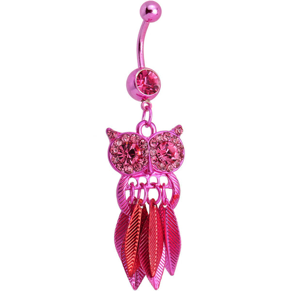 Pink Gem Pink Stainless Steel Astute Owl Dangle Belly Ring