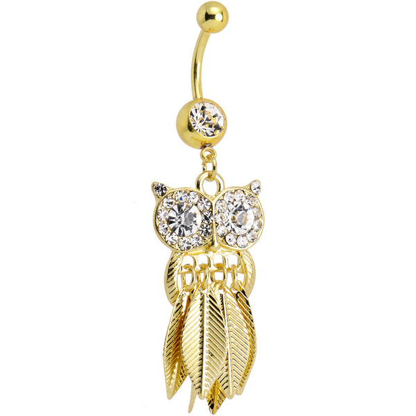 Clear Gem Gold Stainless Steel Astute Owl Dangle Belly Ring