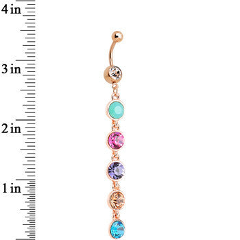 Multi Gem Rose Gold Plated Skinny Line Drop Dangle Belly Ring