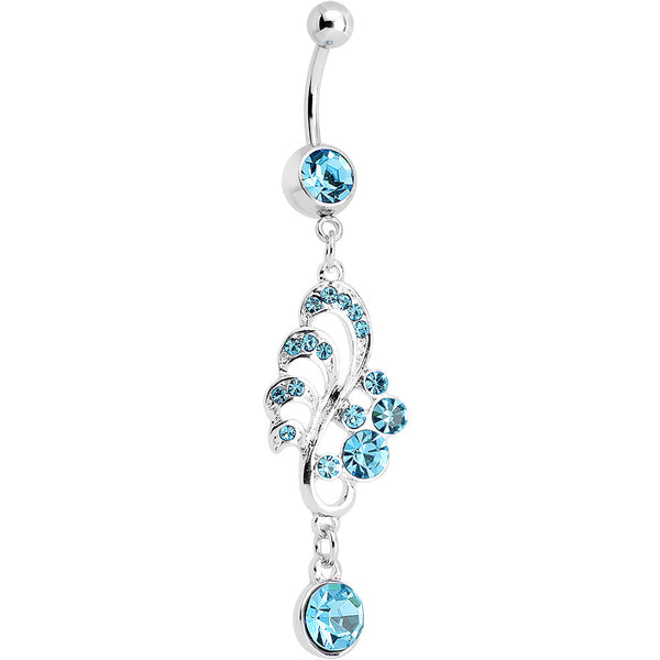Aqua Gem Summertime Drifting Leaf Dangle Belly Ring