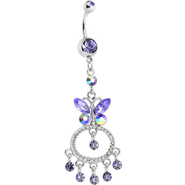 Purple Gem Cicero Butterfly Chandelier Belly Ring