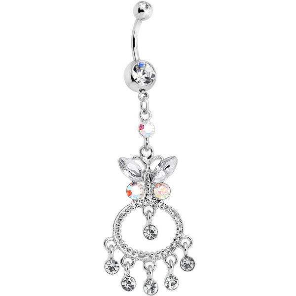 Clear Gem Aqua Cicero Butterfly Chandelier Belly Ring