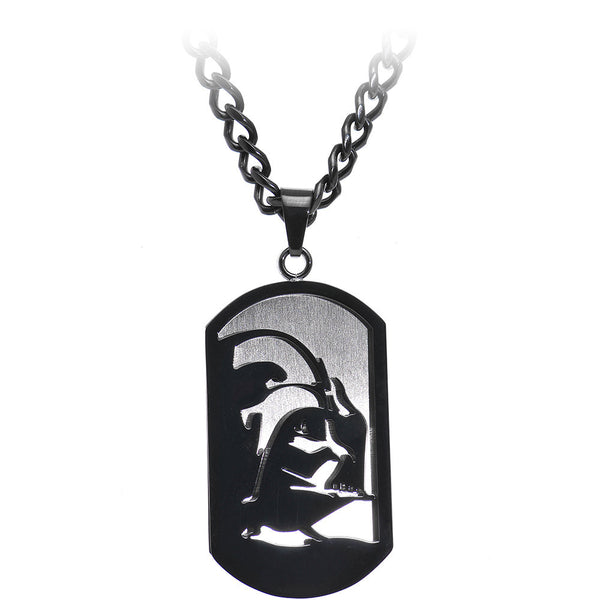 Licensed Black IP Star Wars Darth Vader Dog Tag Pendant Necklace