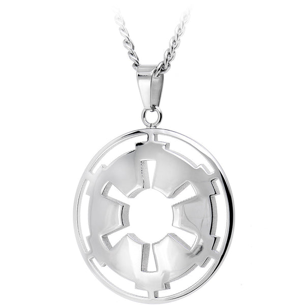 Licensed Steel Star Wars Galactic Empire Cut Out Pendant Necklace