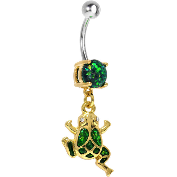 Green Imitation Opal Gold Plated Frog Dangle Belly Ring