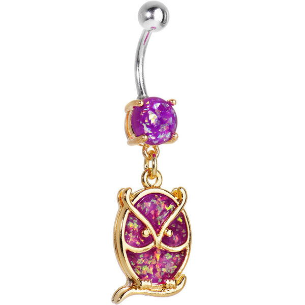 Purple Imitation Opal Gold Plated Wise Owl Dangle Belly Ring