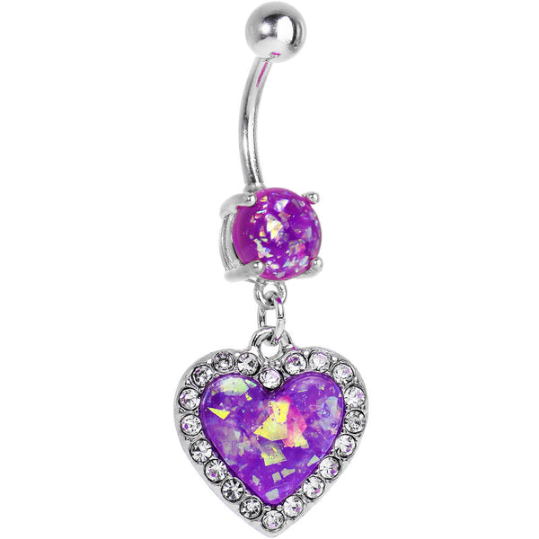 Purple Imitation Opal Framed Heart Dangle Belly Ring