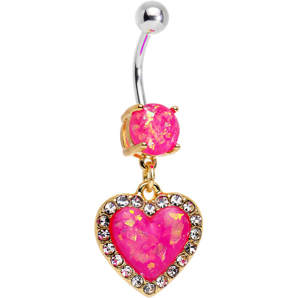 Pink Imitation Opal Gold Plated Framed Heart Dangle Belly Ring