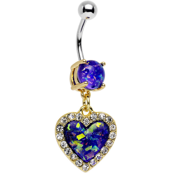 Dark Purple Imitation Opal Gold Plated Framed Heart Dangle Belly Ring
