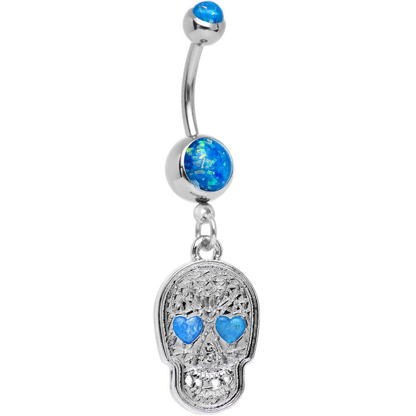 Blue Imitation Opal Sugar Skull Dangle Belly Ring