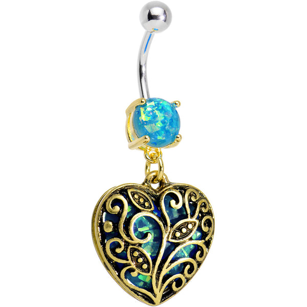 Aqua Imitation Opal Gold Plated Lace Heart Dangle Belly Ring