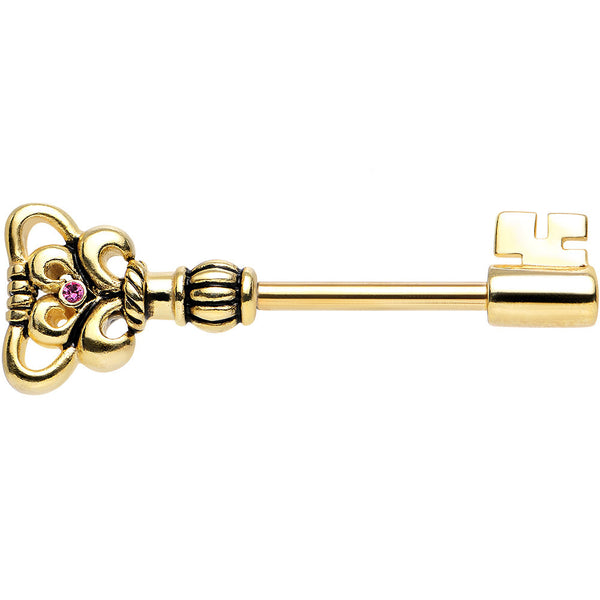 14 Gauge Gold Plated 925 Silver Pink Heart Key Nipple Barbell 1/2""