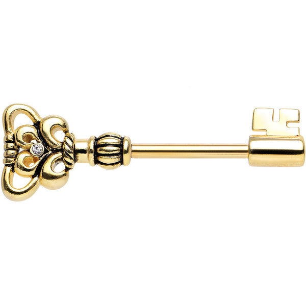 14 Gauge Gold Plated 925 Silver Clear Ornate Key Nipple Barbell 1/2