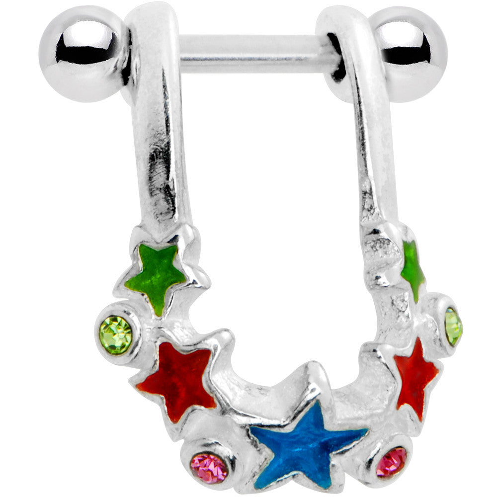 925 Sterling Silver Prismatic Star Cluster Helix Cartilage Earring