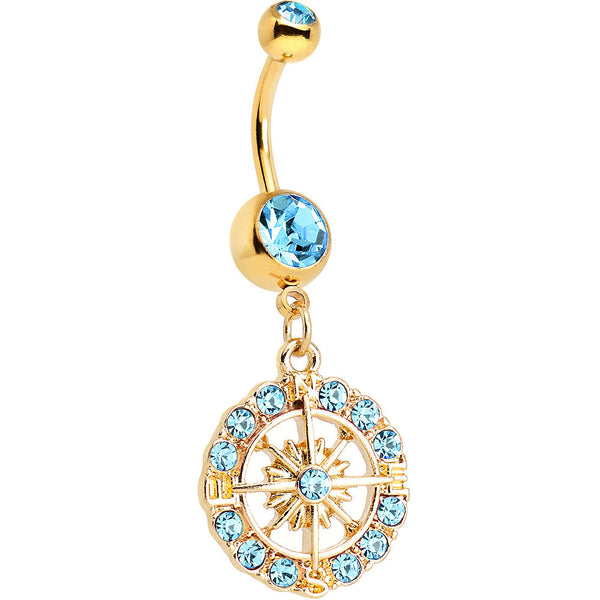 Aqua Gem Gold Plated Brilliant Sunburst Flower Dangle Belly Ring