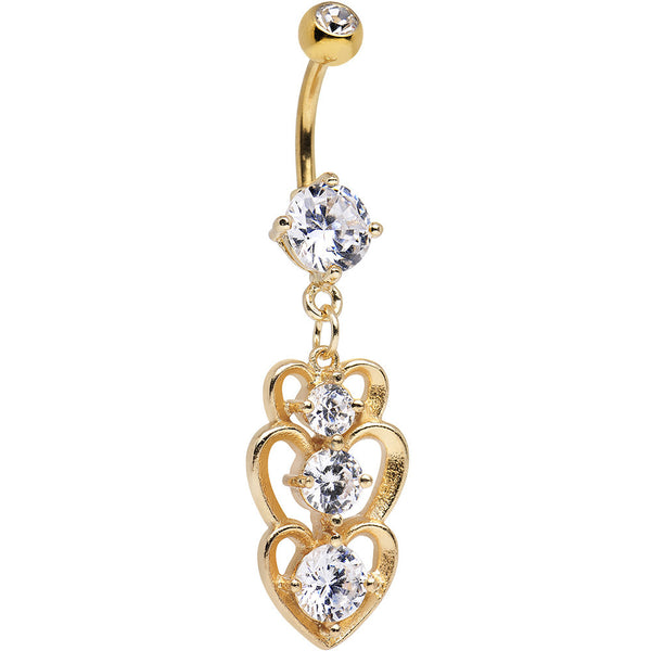 Clear Cubic Zirconia Gold Plated Three Heart Dangle Belly Ring