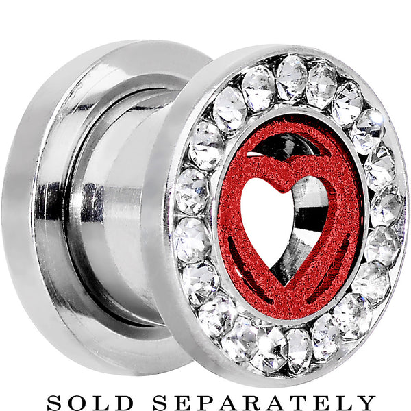 0 Gauge Stainless Steel Clear Gem Red Heart Tunnel Plug