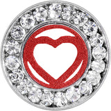 "1/2"" Stainless Steel Clear Gem Red Heart Tunnel Plug"