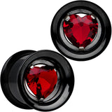 13mm Red Heart Black Anodized Titanium Internally Threaded Plug Set