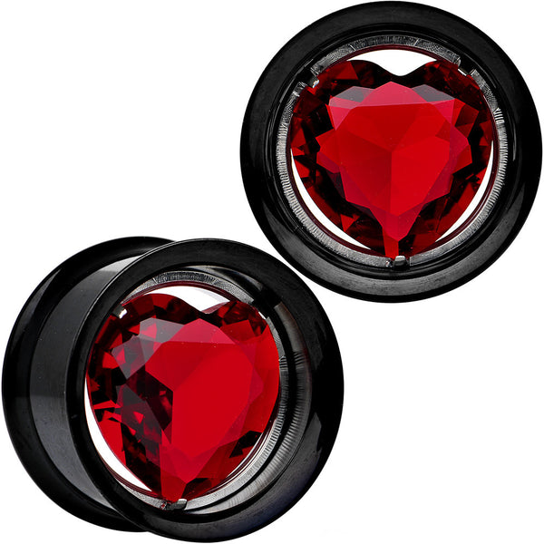 "3/4"" Red Heart Black Anodized Titanium Internally Threaded Plug Set"